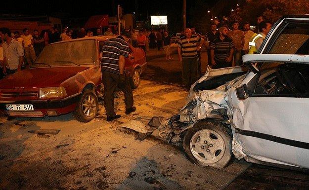 Bafra'da zincirleme kaza: 9 yaralı