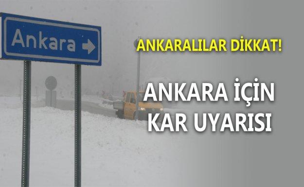 Ankara İçin Yağış Uyarısı