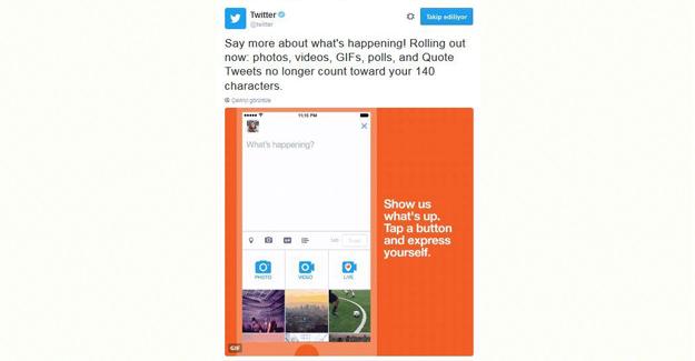 Twitter'da Fotoğraf, Gıf Video, Anket Ve Alıntı 140 Karakterden Sayılmayacak