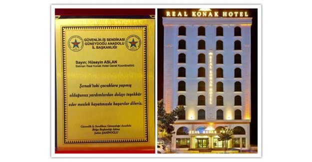 Real Konak Hotel Genel Koordinatörü Hüseyin Aslan'a Anlamlı Plaket