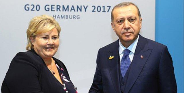 Cumhurbaşkanı Erdoğan, Norveç Başbakanı Solberg'i Kabul Etti