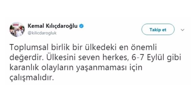 Kılıçdaroğlu'ndan 6-7 Eylül 1955 Olayları İle İlgili Paylaşım