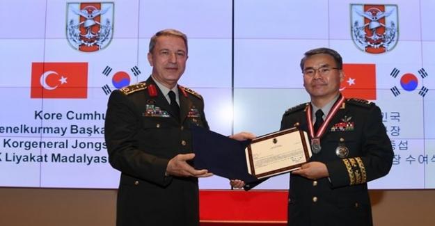 Orgeneral Akar'ı Kore Cumhuriyeti Genelkurmay Başkanı Yardımcısı Lee Ziyaret Etti