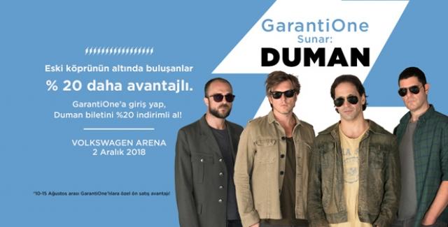 GarantiOne'ın Ana Sponsorluğunda Duman Konserine Avantajlı Ön Bilet Satışları Başladı
