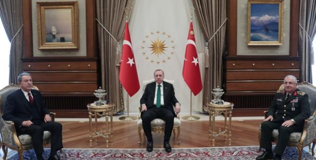 Cumhurbaşkanı Erdoğan, Millî Savunma Bakanı Akar ve Genelkurmay Başkanı Org. Güler'i Kabul Etti