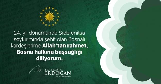 Cumhurbaşkanı Erdoğan'dan 'Srebrenitsa Soykırımı' Paylaşımı