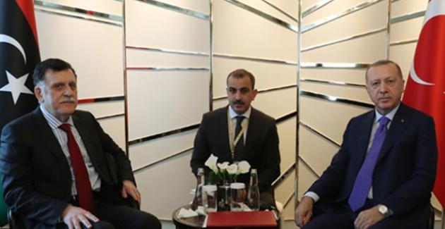 Cumhurbaşkanı Erdoğan, Libya Ulusal Mutabakat Hükûmeti Başkanlık Konseyi Başkanı Sarraj İle Görüştü