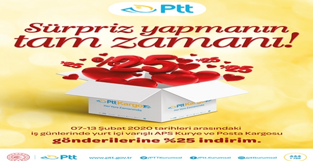 PTT'den Sevgililer Günü'ne Özel İndirim Sürprizi