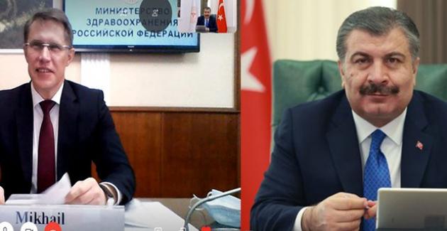 Sağlık Bakanı Dr. Fahrettin Koca, Rus Mevkidaşı Dr. Mikhail Murashko İle Görüştü