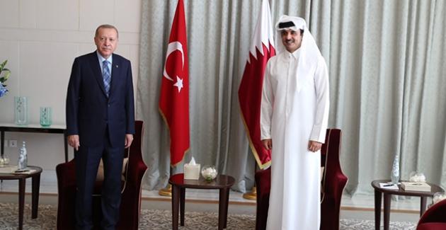 Cumhurbaşkanı Erdoğan, Katar Emiri Şeyh Temim İle Görüştü