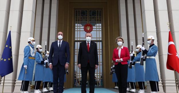 Cumhurbaşkanı Erdoğan, AB Konseyi Başkanı Michel ve AB Komisyonu Başkanı Leyen'i Kabul Etti
