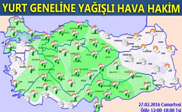 Türkiye Geneli Yağışlı