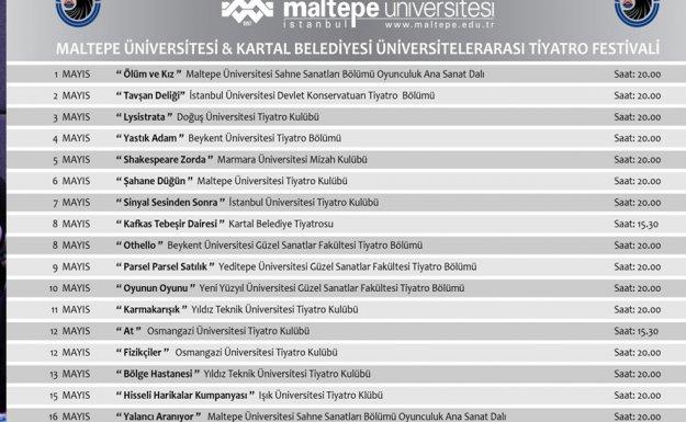 Kartal Belediyesi Üniversiteler Arası Tiyatro Festivali'ne Ev Sahipliği Yapıyor