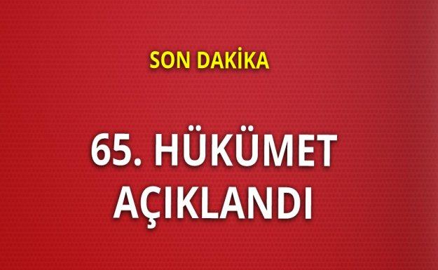 65. Hükümet Açıklandı