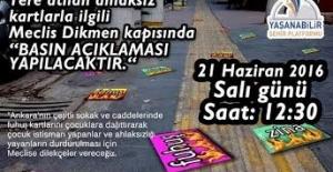 TBMM Önünde Ankara Kaldırımlarındaki 'Seks Kartlarına' Karşı Eylem Yapılacak