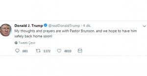 Trump'tan Brunson Mesajı: Yakında Eve Döneceğini Umuyoruz