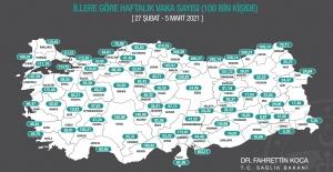 Bakan Koca, İllerin Haftalık Vaka Sayılarını Açıkladı
