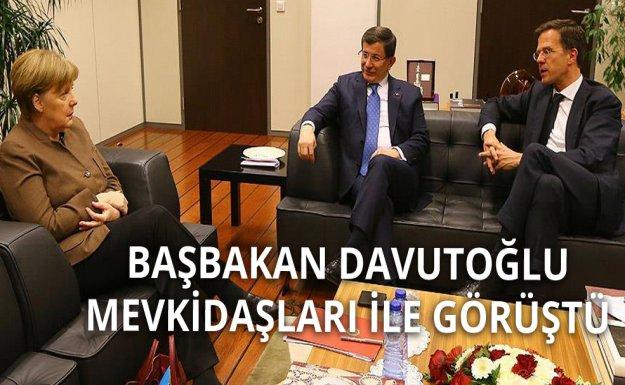 Başbakan Davutoğlu Merkel ve Rutte ile Görüştü
