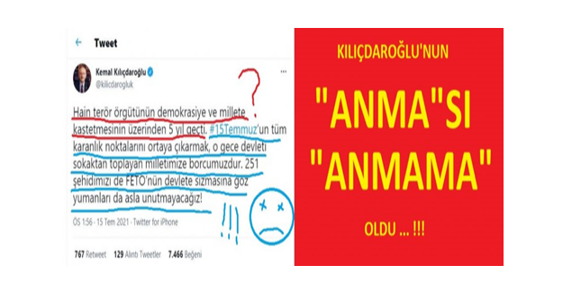 """Kılıçdaroğlu'na Tepki: """"Öğle Yemeğinden Sonra 6 Satırla Andı, Darbede Hükümeti Suçladı"""""""